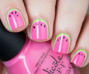 nails, pink, and watermelon image