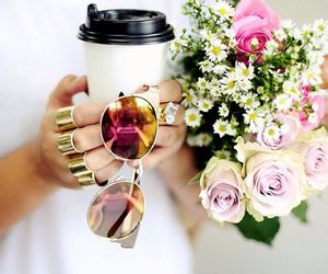 flowers, coffee, and sunglasses image