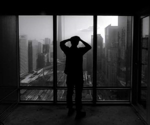 alone, black and white, and gray image