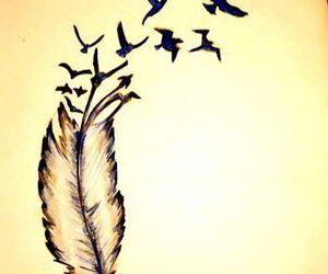 bird, feather, and tattoo image