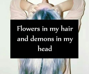 demons, flowers, and hair image