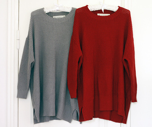 knits sweaters red grey image