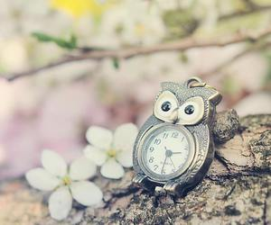 clock, lovely, and flowers image