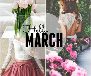 flowers, girl, and march image