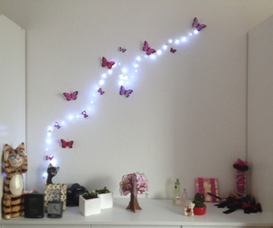 butterfly, room, and stars image