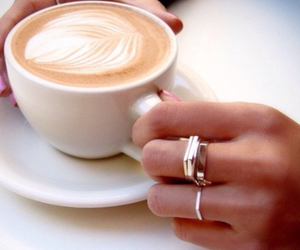 coffee, rings, and drink image