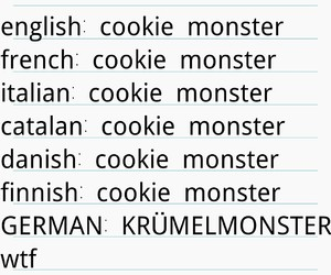 cookie monster, german, and weird image