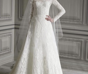 bride, wedding, and wedding dress image