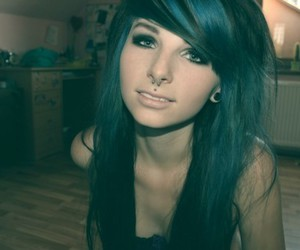 hair, piercing, and septum image