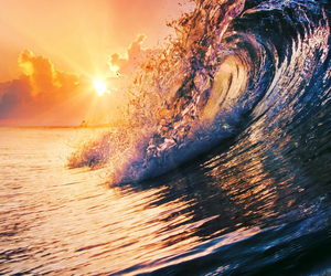 waves, sun, and summer image