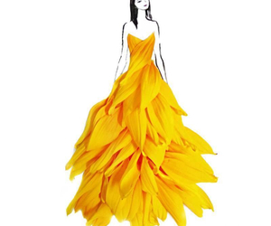 art, dress, and yellow image
