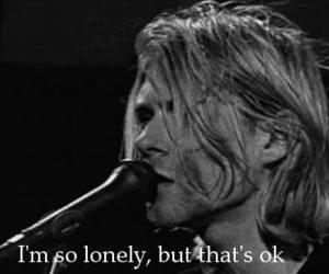 nirvana, kurt cobain, and lonely image