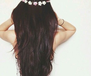 brown, flowers, and hair image