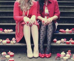 girl, red, and cupcake image