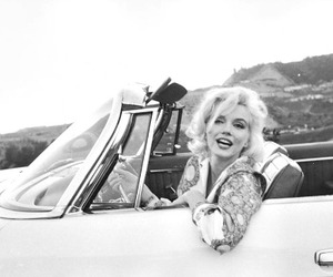 Marilyn Monroe, black and white, and car image