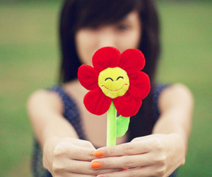 flower, girl, and smile image
