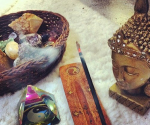 Buddha, hippie, and incense image