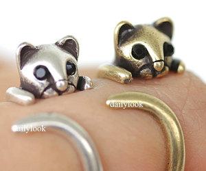 vintage ring, cat ring, and stretch ring image