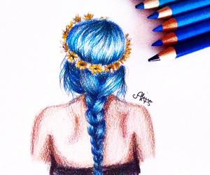 art, braid, and sunflowers image