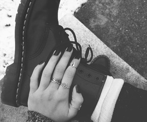 beauty, black and white, and boot image