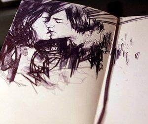 kiss, couple, and drawing image