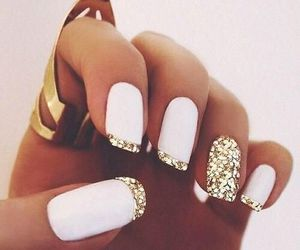 gold, nail art, and white image