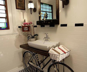 bathroom, bike, and bicycle image