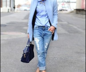 blue coat, fashion, and spring outfit image