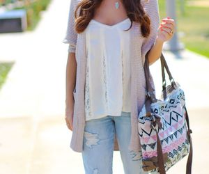 cardigan, fashion, and jeans image