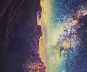 background, galaxy, and mountain image