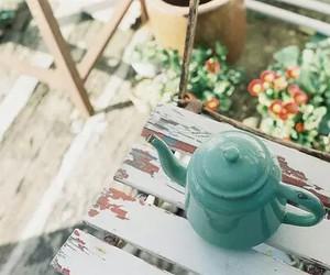 vintage, tea, and flowers image