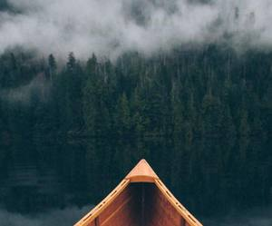 boat, river, and forest image