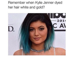 funny, kylie jenner, and black and blue image