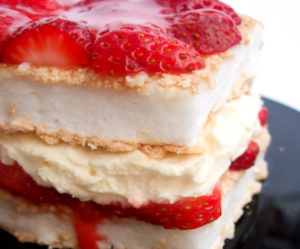 cream, strawberry, and dessert image