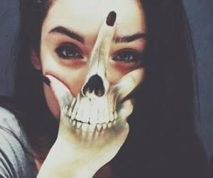 girl, skull, and tattoo image