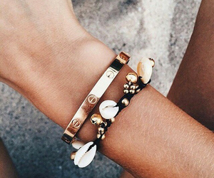 bracelet, gold, and summer image