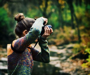 camera, fall, and forest image