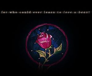 rose, beauty and the beast, and quote image