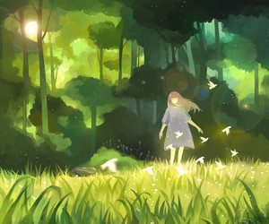 girl, anime, and forest image
