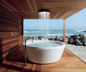 bath, bathroom, and sea image