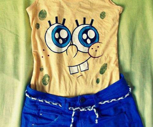 spongebob, blue, and yellow image