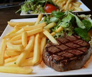 food, yummy, and steak image