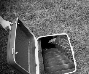 narnia, suitcase, and black and white image