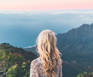 girl, beautiful, and mountains image