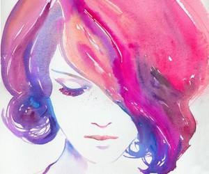 girl, art, and pink image