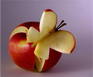 apple, beautiful, and butterfly image