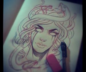 medusa, drawing, and snake image