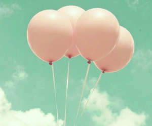 pink, balloons, and sky image