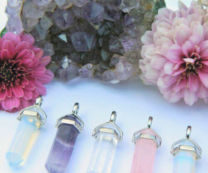 crystal, flowers, and grunge image
