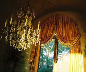chandelier, curtains, and window image